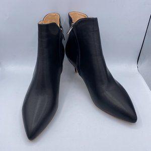 black pointy toe ankle boots low heels booties kitten pumps